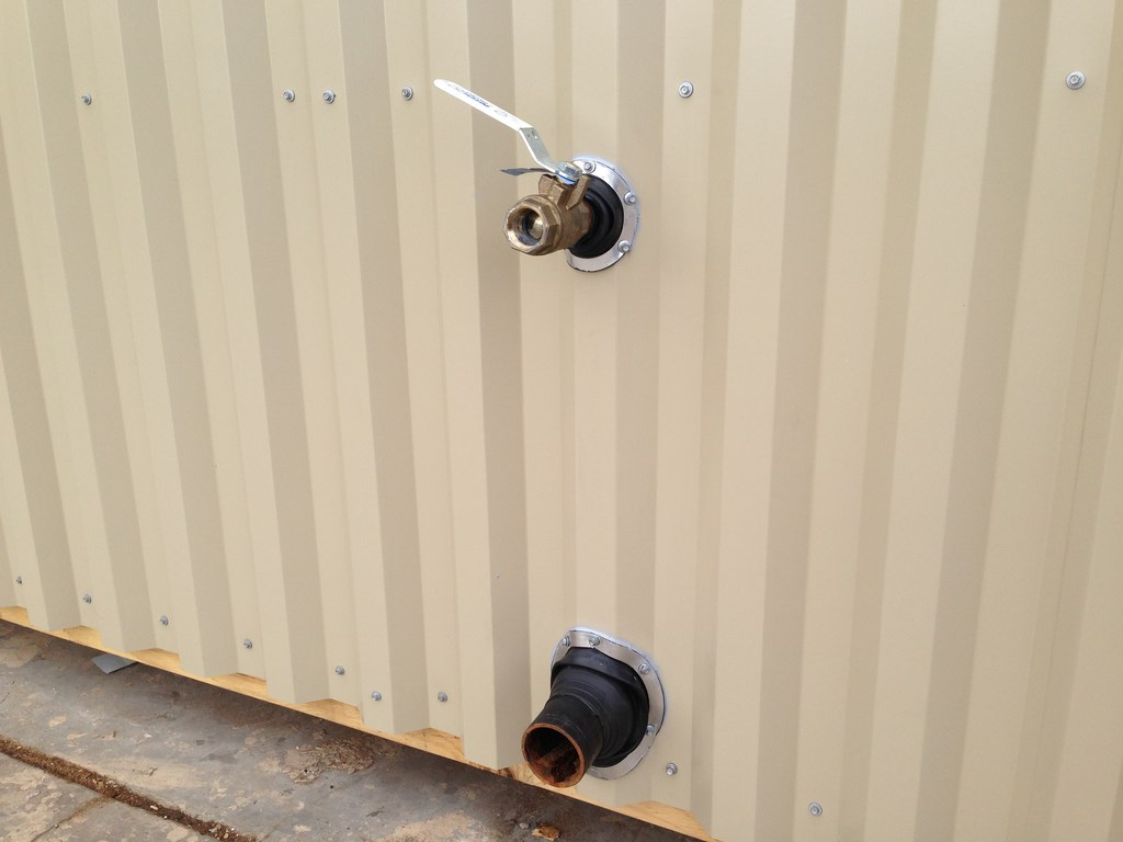 utility point of connection for restroom in modular building