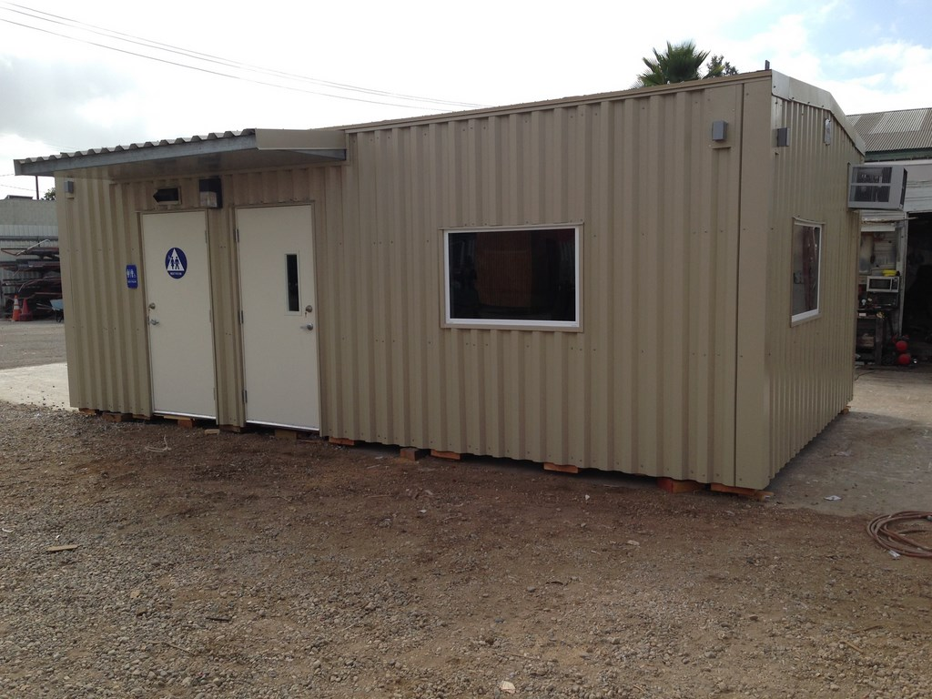 prefab modular office with unisex restroom. ADA compliant. Code conforming modular building