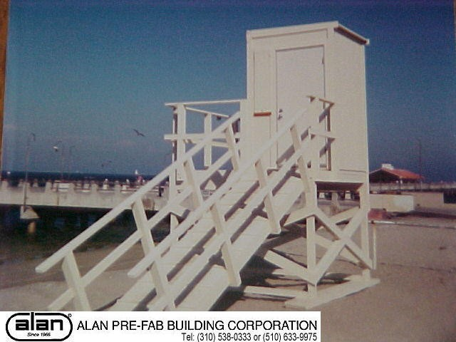 prefabricated lifeguard tower, portable guard station, prefabricated security booth, forkliftable guard house, guard shack