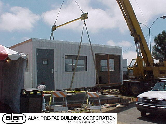 modular guard station on permanent foundation, portable guard station, prefabricated security booth, forkliftable guard house, guard shack