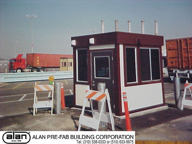 prefabricated guard house on permanent foundation, portable guard station, prefabricated security booth, forkliftable guard house, guard shack